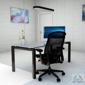 Sapir Glass שולחן כתיבה זכוכית אפורה - רגל שחורה