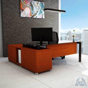 שולחן מנהלים פינתי Sapir Glass רגל שחורה + זכוכית שחורה