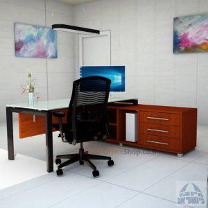 שולחן מנהלים פינתי Sapir Glass רגל שחורה + זכוכית לבנה