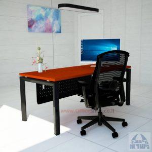 שולחן מזכירה יוקרתי  Sapir רגל שחורה כולל מיסתור מתכת
