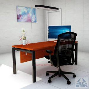 שולחן כתיבה יוקרתי  Sapir רגל שחורה כולל מיסתור עץ