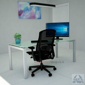 Sapir Glass שולחן כתיבה זכוכית לבנה - רגל כסופה