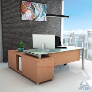 שולחן מנהלים פינתי Sapir Glass רגל כסופה + זכוכית לבנה