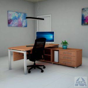 שולחן מנהלים פינתי דגם Sapir רגל כסופה