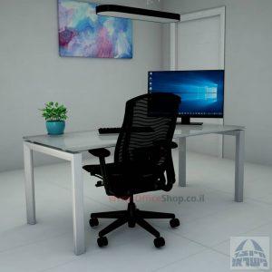 Sapir Glass שולחן כתיבה זכוכית אפורה - רגל כסופה