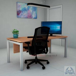 שולחן כתיבה יוקרתי  Sapir רגל כסופה כולל מיסתור עץ