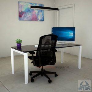 Sapir Glass שולחן כתיבה זכוכית שחורה - רגל לבנה