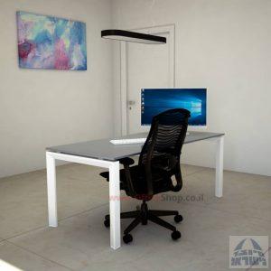 Sapir Glass שולחן כתיבה זכוכית אפורה - רגל לבנה