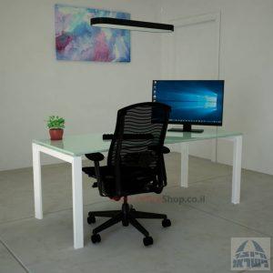 Sapir Glass שולחן כתיבה זכוכית לבנה – רגל לבנה