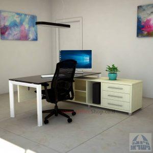 שולחן מנהלים פינתי Sapir Glass רגל לבנה + זכוכית שחורה
