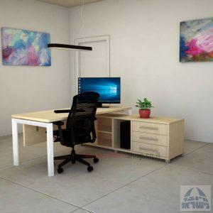 שולחן מנהלים פינתי דגם Sapir רגל לבנה
