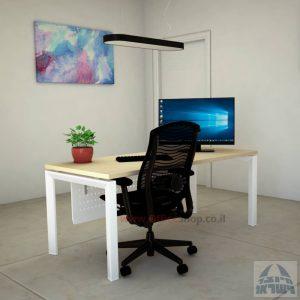 שולחן כתיבה יוקרתי  Sapir רגל לבנה כולל מיסתור מתכת