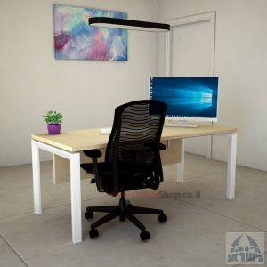 שולחן כתיבה יוקרתי  Sapir רגל לבנה כולל מיסתור עץ
