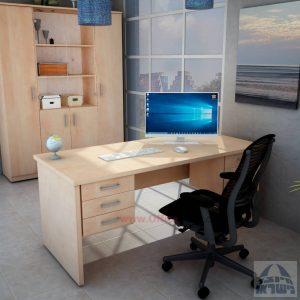 שולחןמשרדי מעוצב דגם שרתון כפול כולל 6 מגירות לאחסון