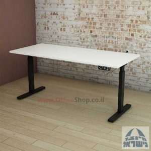 שולחן עבודה ארגונומי שינוי גובה חשמלי דגם ארגוטק רגל שחורה