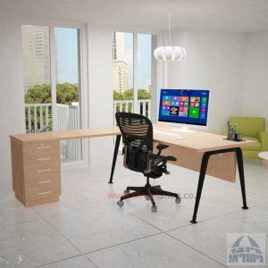שולחן מזכירה פינתי דגם Keren – 5M רגל שחורהכולל מיסתור עץ