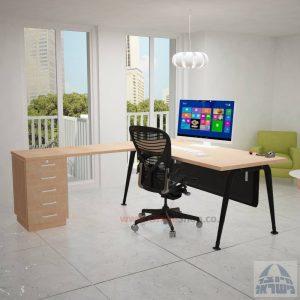 שולחן מזכירה פינתי דגם Keren – 5M רגל שחורהכולל מיסתור מתכת