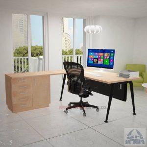 שולחן מזכירה פינתי דגם Keren – 5DM רגל שחורה כולל מיסתור מתכת