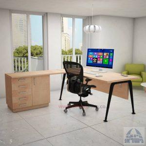 שולחן מזכירה פינתי דגם Keren – 5DM רגל שחורה כולל מיסתורעץ