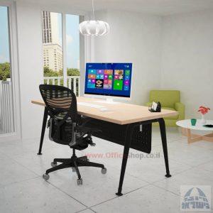 שולחן כתיבה מעוצב דגם Keren רגלשחורה כולל מיסתור מתכת
