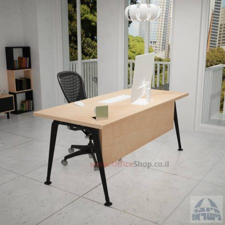 שולחן כתיבה מעוצב דגם Keren רגללבנה כולל מיסתור עץ