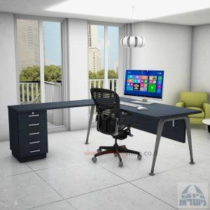 שולחן מזכירה פינתי דגם Keren – 5M רגל כסופהכולל מיסתור עץ