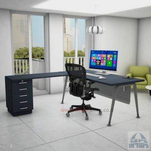 שולחן מזכירה פינתי דגם Keren – 5M רגל כסופהכולל מיסתור מתכת