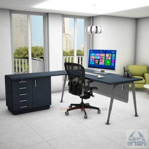 שולחן מזכירה פינתי דגם Keren – 5DM רגל כסופה כולל מיסתור מתכת
