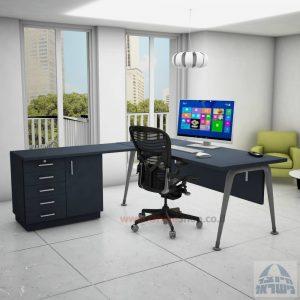 שולחן מזכירה פינתי דגם Keren – 5DM רגל כסופה כולל מיסתור עץ