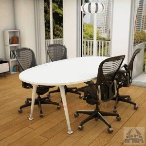 שולחן ישיבות מודרני דגם Keren רגל לבנה