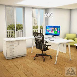 שולחן מזכירה פינתי דגם Keren – 5DM רגל לבנה כולל מיסתור מתכת