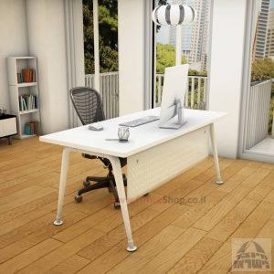שולחן כתיבה מעוצב דגם Keren רגללבנה כולל מיסתור מתכת
