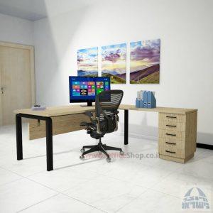 שולחן מזכירה יוקרתי דגם Moro – M5 רגל שחורה כולל מיסתור עץ