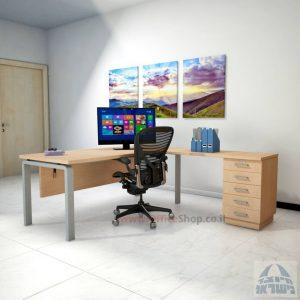 שולחן מזכירה יוקרתי דגם Rondo – M5 רגל כסופה כולל מיסתור עץ