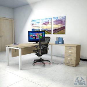 שולחן מזכירה יוקרתי דגם Moro – M5 רגל לבנה כולל מיסתור עץ