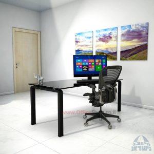 שולחן כתיבהזכוכית שחורהמחוסמת Moro Glass – רגל שחורה