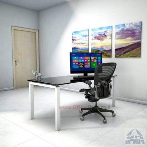 שולחן כתיבהזכוכית שחורהמחוסמת Moro Glass – רגל לבנה