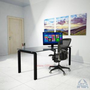 שולחן כתיבהזכוכית אפורהמחוסמת Moro Glass – רגל שחורה