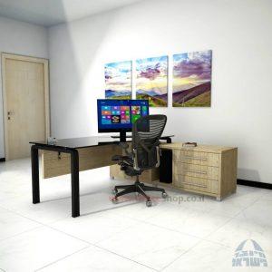 שולחן מנהלים פינתי דגם Moro Glass רגל שחורה כולל זכוכית שחורה