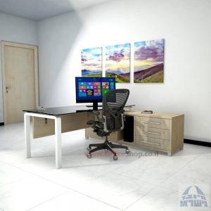 שולחן מנהלים פינתי דגם Moro Glass רגל לבנה כולל זכוכית שחורה