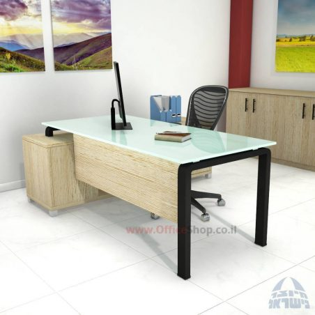 שולחן מנהלים פינתי דגם Moro Glass רגל כסופה כולל זכוכית שחורה