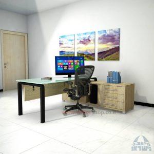 שולחן מנהלים פינתי דגם Moro Glass רגל שחורה כולל זכוכית לבנה