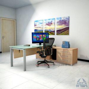 שולחן מנהלים פינתי דגם Moro Glass רגל כסופה כולל זכוכית לבנה