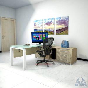 שולחן מנהלים פינתי דגם Moro Glass רגל לבנה כולל זכוכית לבנה