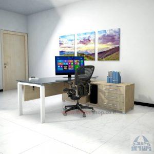 שולחן מנהלים פינתי דגם Moro Glass רגל לבנה כולל זכוכית אפורה