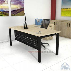 שולחן מזכירה יוקרתי דגם Moro – M5 רגל שחורה כולל מיסתור מתכת