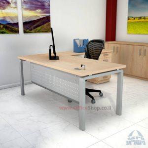 שולחן מזכירה יוקרתי דגם Moro – M5 רגל כסופה כולל מיסתור מתכת