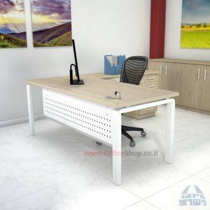שולחן מזכירה יוקרתי דגם Moro – M5 רגל לבנה כולל מיסתור מתכת