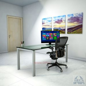 שולחן כתיבהזכוכית שקופהמחוסמת Moro Glass – רגל כסופה