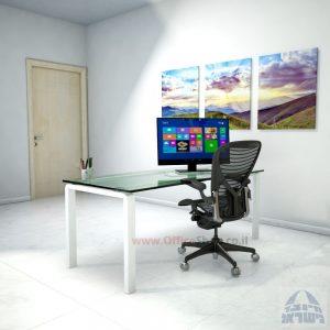 שולחן כתיבהזכוכית שקופהמחוסמת Moro Glass – רגל לבנה